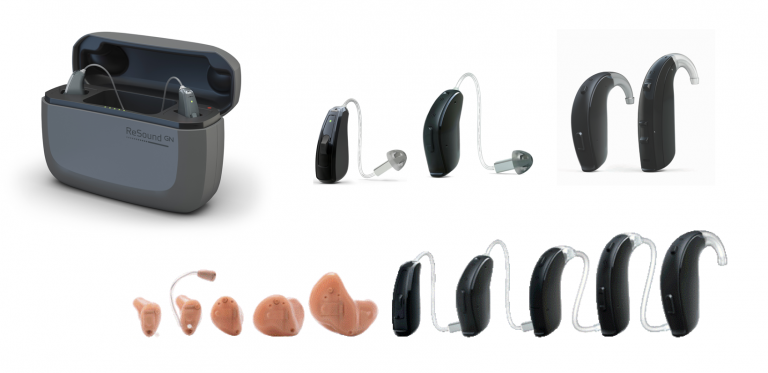 An image of all hearing aid options available with this provider. They range in color and size.